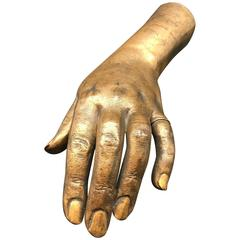 French 19th Century Life-Size Gilded Bronze Hand of a Lady