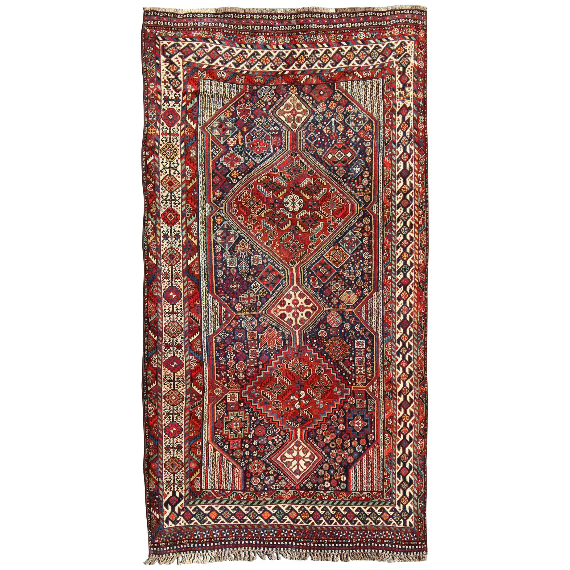 Antique Persian Qashqai Shiraz Tribal Rug with Hooked Diamond Design