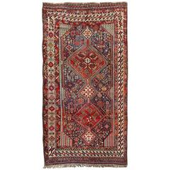 Antique Persian Qashqai Shiraz Tribal Rug with Hooked Diamond Design