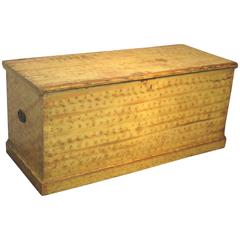 New England Yellow and Polychrome-Decorated Pine Chest