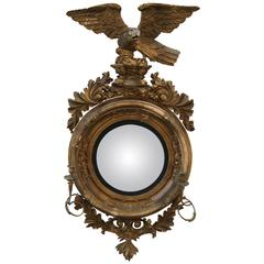 English Convex Mirror with Large Eagle and Candelabra Arms, circa 1850