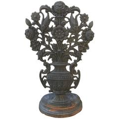 English Cast Iron Garden Ornament with over Scaled Urn and Floral Motif