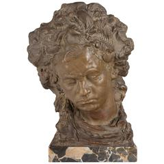 French Terra Cotta Bust of Beethoven