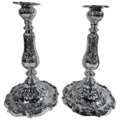 Pair of Fancy Edwardian Sterling Silver Candlesticks by Gorham