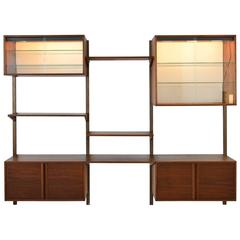Walnut 3 Bay Wall Unit with Lighted Cabinets, circa 1970