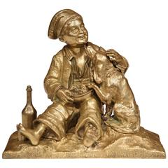 19th Century French Patinated Bronze Sculpture with Young Boy and Dog