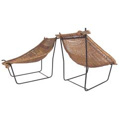 Pair of Vintage Modern Woven Wicker Sling Chairs