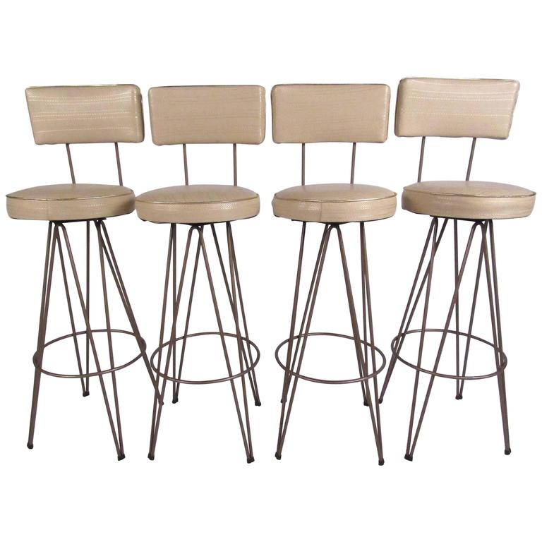 Frederick Weinberg Style Hairpin Swivel Bar Stools