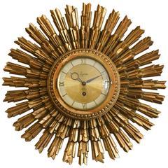 Gold Sunburst Clock by Syroco, circa 1955