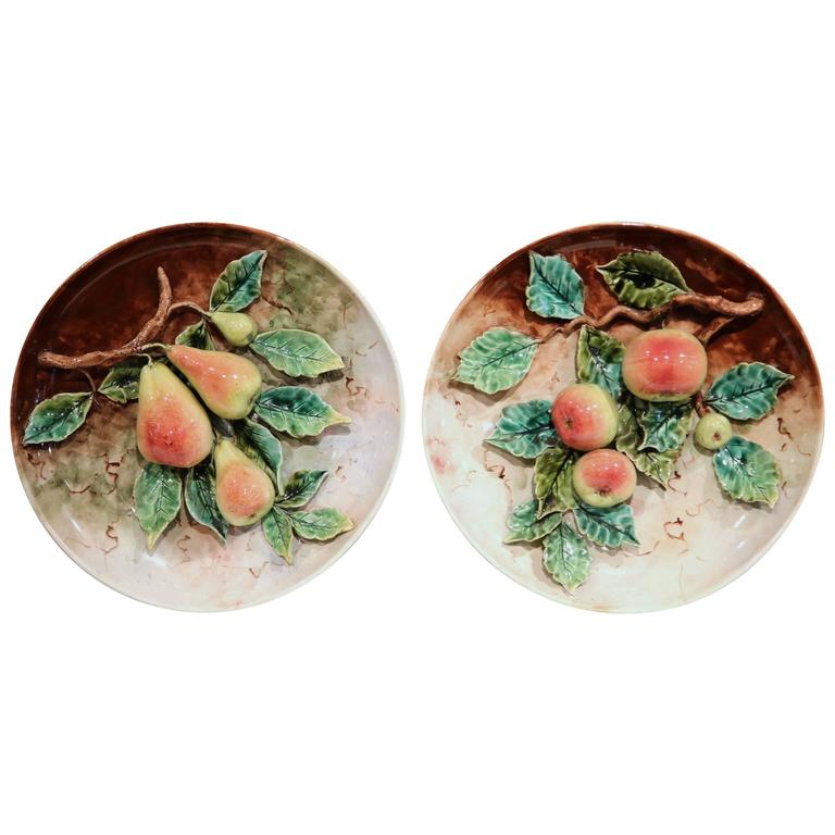 Pair of 19th Century French Hand-Painted Barbotine Plates with Apples and Pears