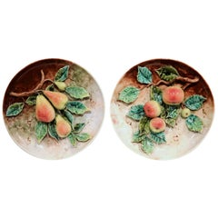 Pair of 19th Century French Hand Painted Barbotine Plates with Apples and Pears