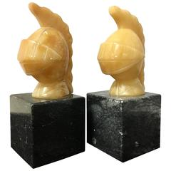 Pair of Alabaster and Marble Italian Trojan Helmet Bookends