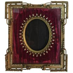 19th Century, French, Louis XVI Style Bronze Frame with Paste Jewels