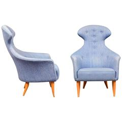 "Pair of Kerstin Horlin Holmquist ""Stora Eva"" Chairs, 1950s-1960s, Sweden"