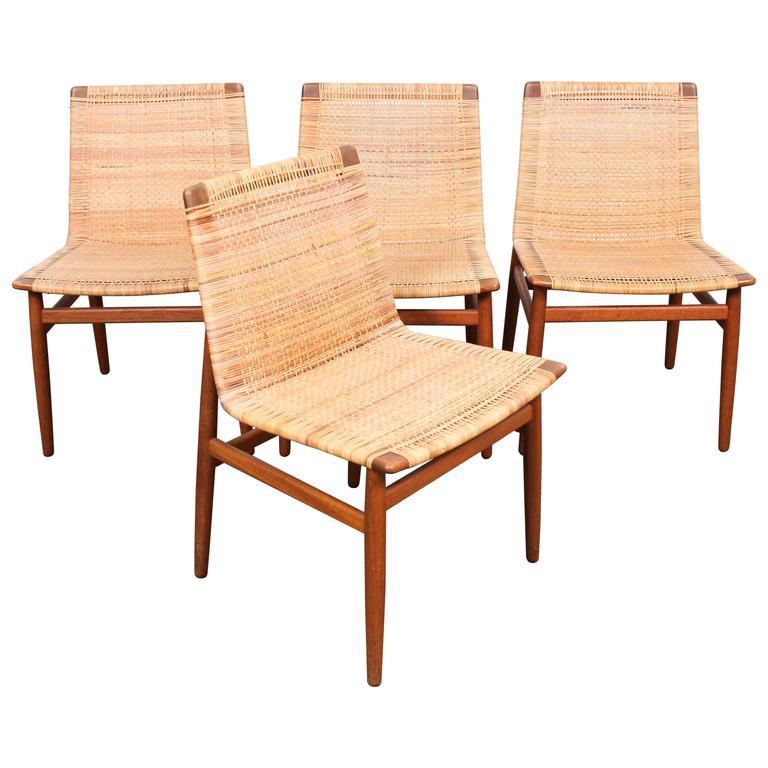 Set of Four Very Rare Teak Danish Dining Chairs by Jorgen Høj