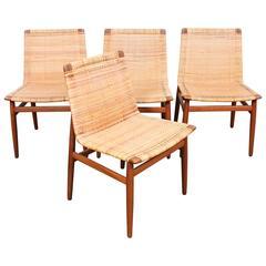Set of Four Teak Danish Dining Chairs by Jorgen Høj