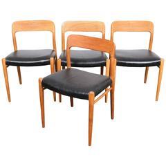 Set of Four Danish Oak Niels O. Møller Dining Chairs Model 75