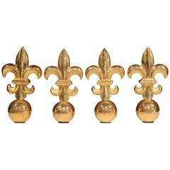 Early 20th Century French Set of Four Wood Carved Fleur-de-Lys with Gold Leaf