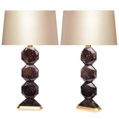 Pair of Smoky Brown Modern Rock Crystal Quartz Lamps