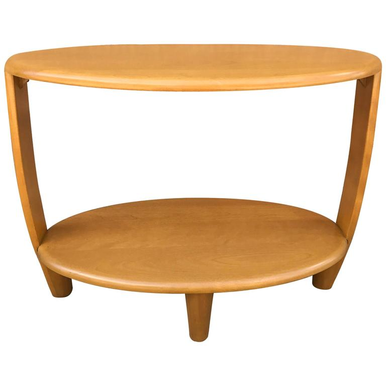 Amazing Tiered Oval Maple Side Table By Heywood Wakefield 1