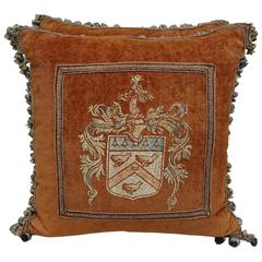 Pair of Hand-Painted Italian Velvet Pillows with Fringe