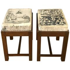 Lithography Stone Top and Mahogany Base End Tables