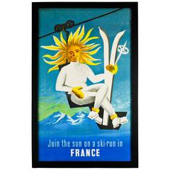 1950 France Tourism Linen Backed Original Travel Poster