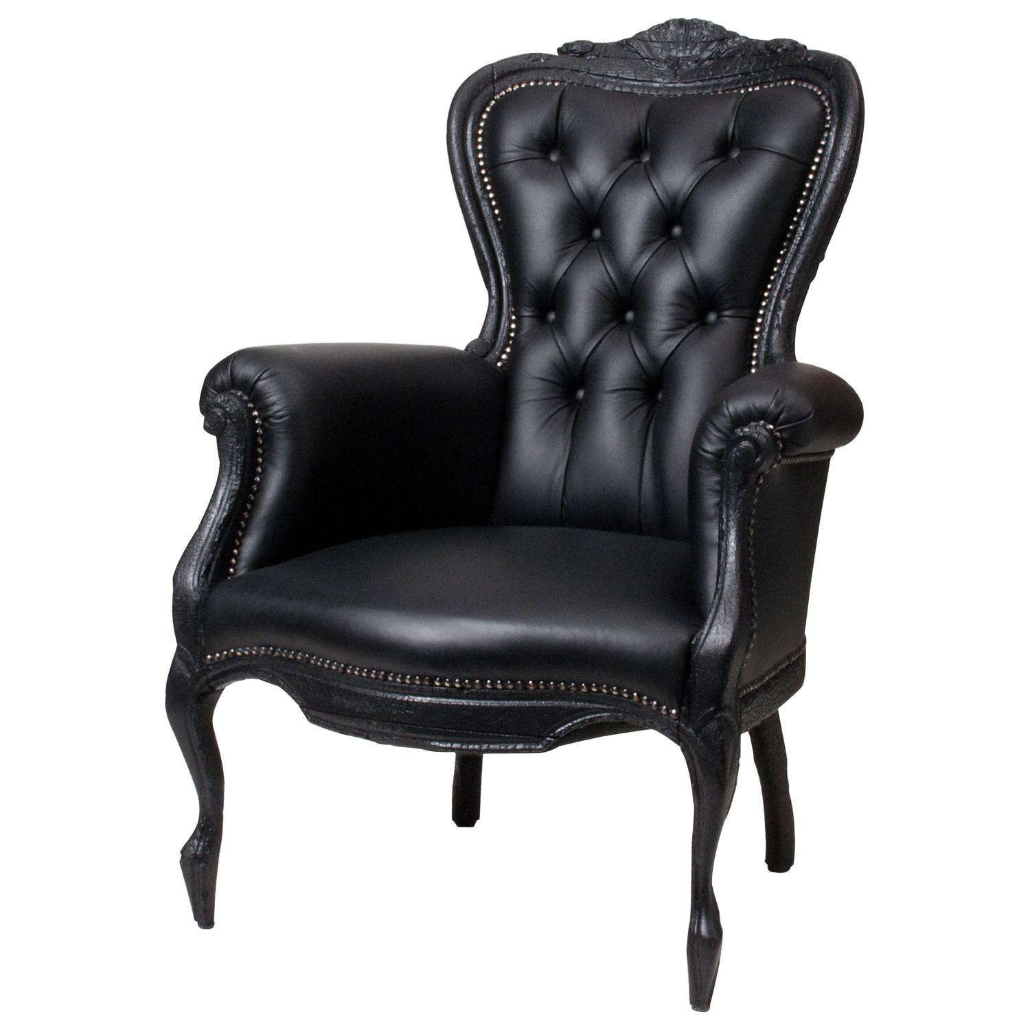 Moooi Smoke Chair in Black Leather Burned Wood and Sealed with