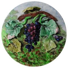 19th Century Majolica Grapes Wall Platter Longchamp