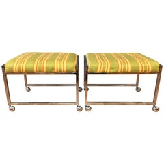 Pair of Vintage Milo Baughman-Style Small Wheeled Benches