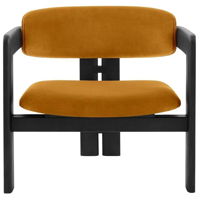armchair or lounge chair with upholstered seat and backrest wood structure 1