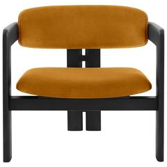 0417 Armchair or Lounge Chair with Upholstered Seat and Backrest, Wood Structure