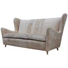 Gio Ponti Style Italian Wingback Sofa