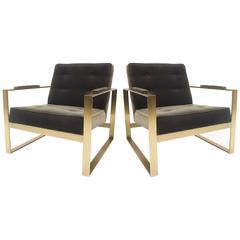 Milo Baughman for Thayer Coggin Flat Bar Lounge Chairs