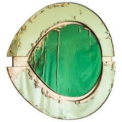 Irys Wall Mirror with Jade Green Mirror Inside and Actual Mirror Outside