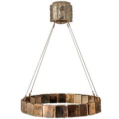 Ring Chandelier 70 pendant Lamp Suspension with Silvered Glass Sheets