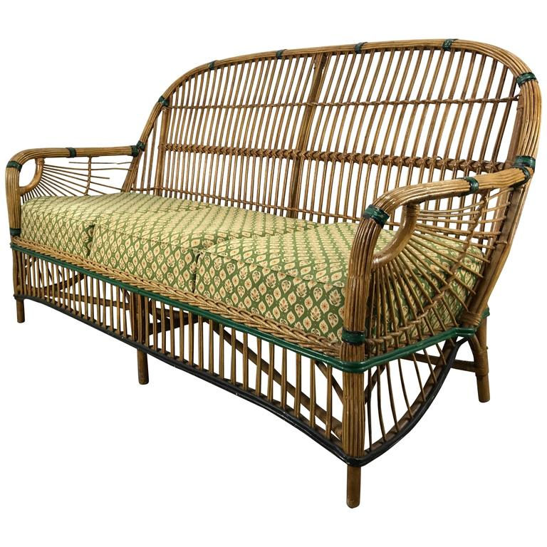 Stunning art deco split reed or stick wicker settee at 1stdibs for Wicker reed