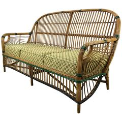Stunning Art Deco Split Reed or Stick Wicker Settee