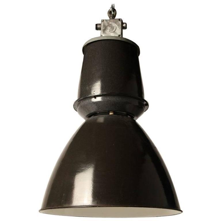 Industrial Enamel Czech Pendant Lamp For Sale At 1stdibs