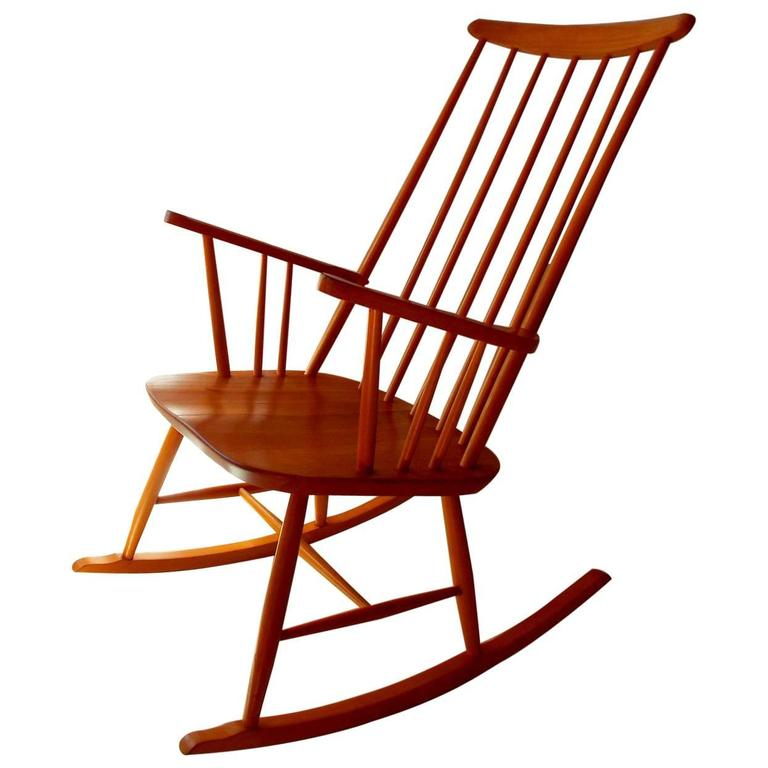 Midcentury Rocking Chair by Austrian Architect Roland Rainer with Beech frame 1