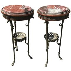19th Century, French Antique Pot Stands, Side Tables, Bronze with Marble Tops