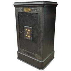 19th Century Iron and Wood Safe from Degauquier Lille with Key and Code