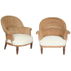 Pair of French Armchairs in Burlap
