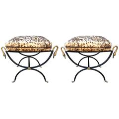 Fantastic Pair of Italian Bronze and Iron Neoclassical Style Ottomans Benches