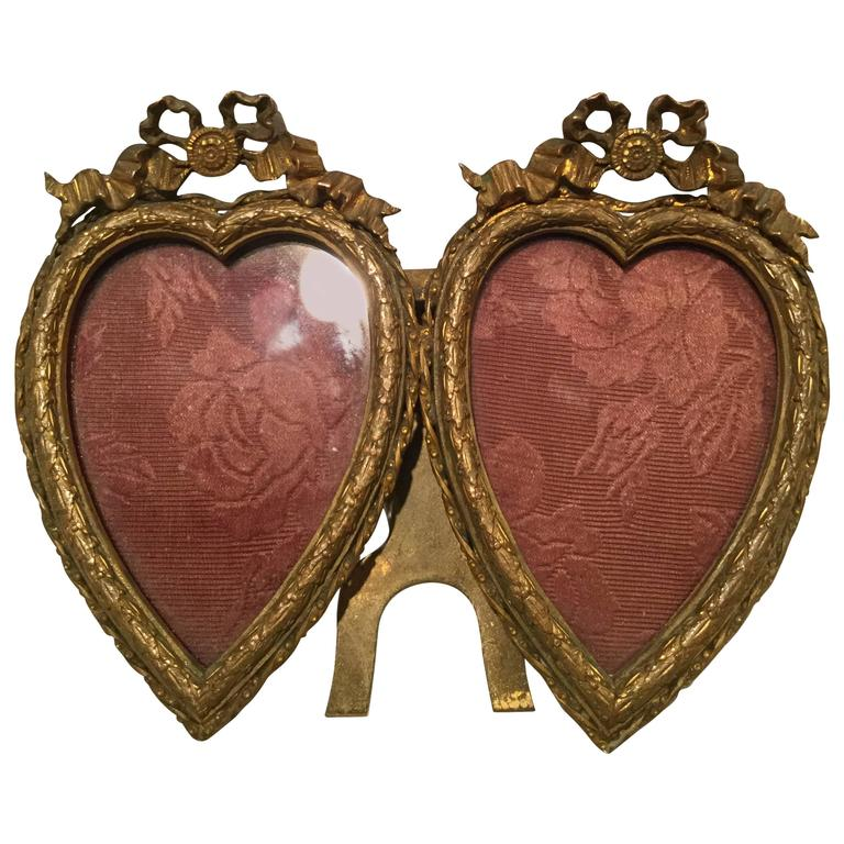 19th Century French Louis XVI Style Bronze Double Heart Frame ...