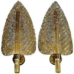 Floral Pair of Murano Clear Gold Art Glass Leaf Sconces, Barovier & Toso, 1970s