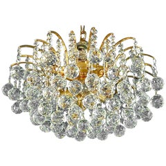 Precious Gilt Brass Faceted Crystal Glass Sputnik Chandelier by Christoph Palme