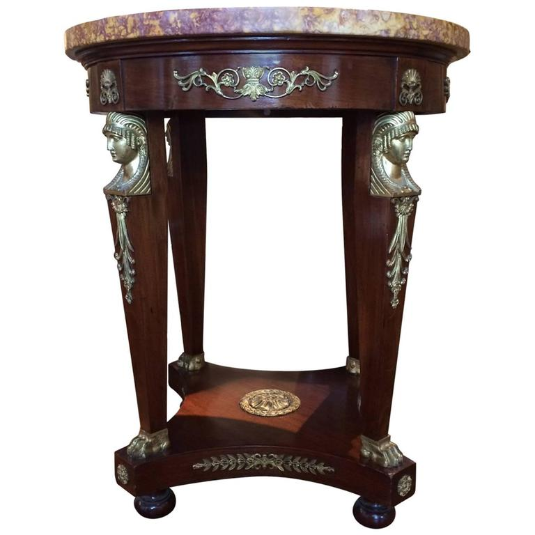 Late 19th Century French Marble Topped Mahogany and Ormolu Mantel Centre Table