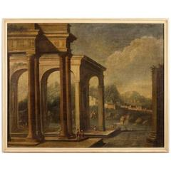 18th Century Italian Painting Architectural Landscape Oil on Canvas