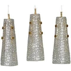 Large J.T. Kalmar Lights Textured Ice Glass Brass Cone Shade Set of Three 1950s
